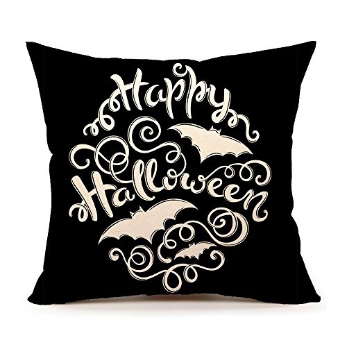 4TH Emotion Black Happy Halloween Throw Pillow Case Cushion Cover 18 x 18 Inch Cotton Linen for Sofa