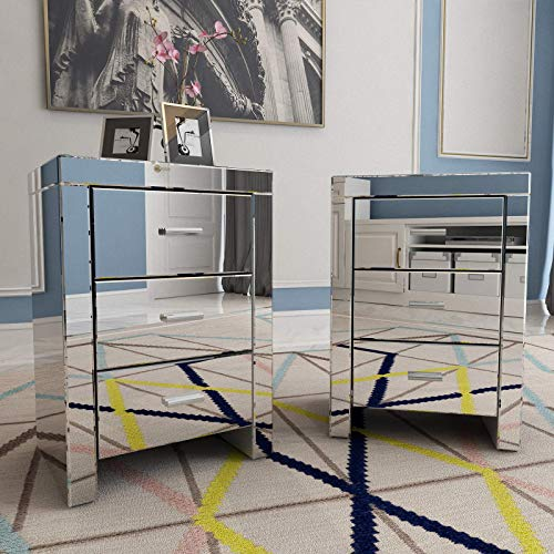 Mecor Mirrored end Table 3 Drawers Mirror Accent Side Table Silver Finished Nightstand Set of 2 for Bedroom, Living Room…