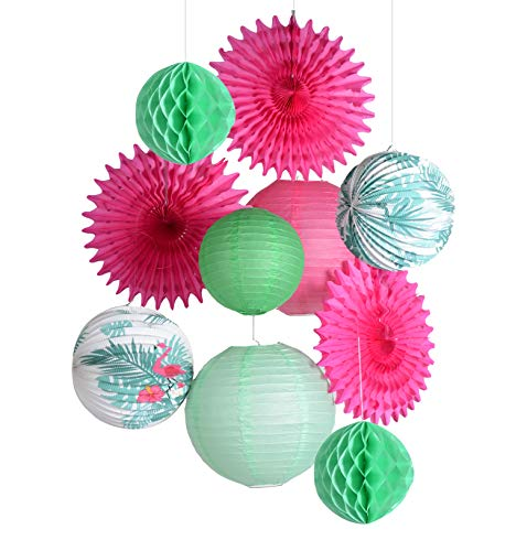 PAPER JAZZ Accordion Lantern Set for Wedding Summer Pool Party Birthday Flamingo Orchid Tropical Theme Party Decoration (Flamingo Leaf) for $<!--$12.99-->