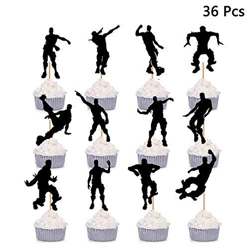 Finduat [36 Pack] Dance Floss Cupcake Toppers For Kids Gaming Birthday Party Baby Shower Cake ()