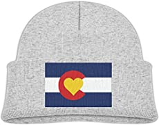 3355521986a Runningway Kids Love Heart Colorado Flag Knit Warm Beanie Hat Skull Cap Ash