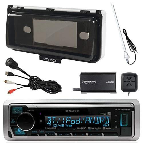Kenwood Marine Digital Media Bluetooth Receiver, SiriusXM Satellite Radio Tuner Kit, Enrock AM/FM Antenna (White), Enrock Marine Single Din Radio Dash Protector, Enrock USB AUX Stereo Interface