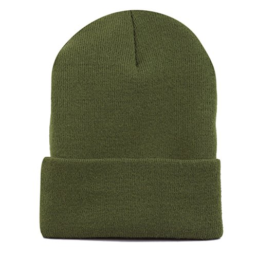 THE HAT DEPOT Made in USA Skull Beanie Plain Ski Hat (Olive)