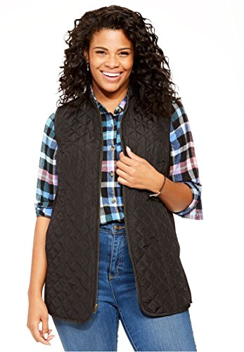 Woman Within Plus Size Diamond-Quilted Zip Front Vest - Black, 1X