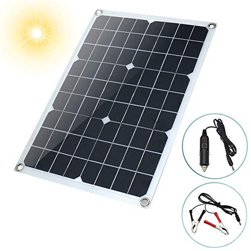 Julitech El Panel Solar Flexible 20W, Cargadores Solares De La Seguridad 12V/24V, 17 * 11Pulg Convenientes para Las Azoteas,...