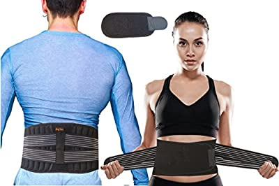 BodyMoves Back Brace Lumbar Support for Men and Women with Dual Adjustable Straps Helps Relieve Lower Back Pain Spasm Strain Herniated Disc Sciatica Scoliosis Disc Bulge Lifting
