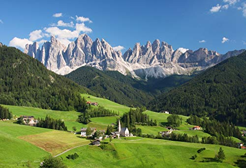 Laeacco European Alps Backdrop 10x6.5ft Photography Background Dolomites Swiss Mountains Green Forest Blue Sky Scenic Spot Outdoor Photo Background Studio Props Photo Studio