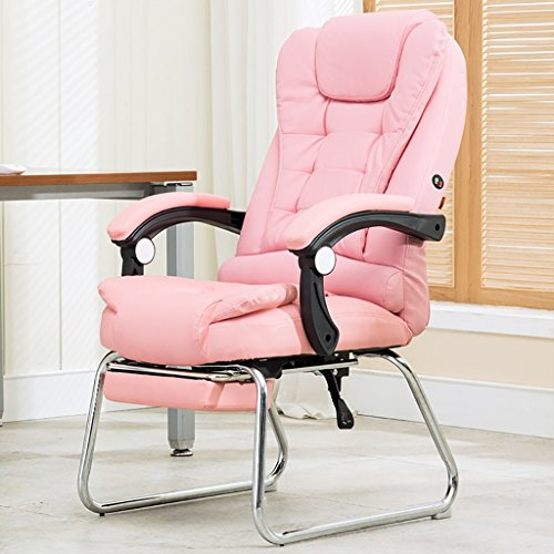 Computer Chair Home Office Chair Reclining Four-Leg Chair Leather Art Massage Chair PU Leather with Foot Arch Chair (Color : D)