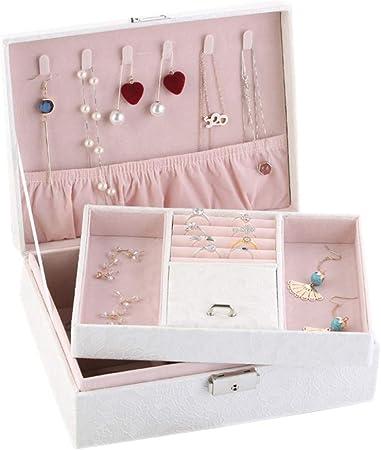 HM&DX 2-Capas Caja joyero Organizador, PU Cuero Aterciopelado Cerradura Estuche de Viaje Compartimento múltiple Organizador de la joyería para niñas Mujer -Blanco B: Amazon.es: Hogar