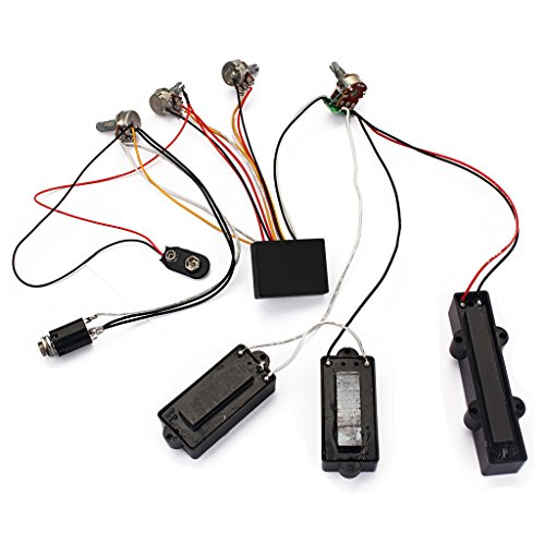 MonkeyJack Loaded Wiring Harness Potentiometer 3 Band AMP EQ Preamp Equalizer Pickup for JB PB Bass Guitar Replacement Parts