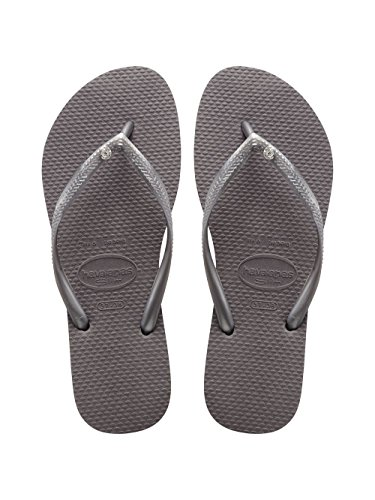 Havaianas Womens Slim Crystal Glamour Sandal Lightweight Beach Flip Flop - Steel Gray - -