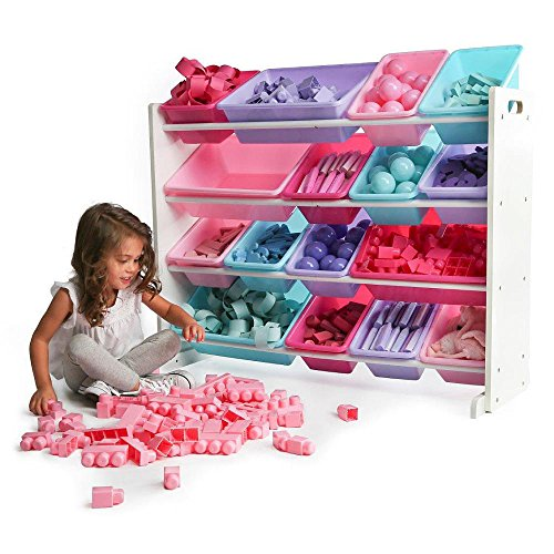 51ATdIKZVUL - TOT Tutors WO574 Forever Collection Wood Toy Storage Organizer, X-Large, White/Pink&Purple