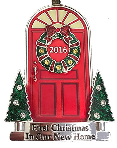 2016 Annual Door (in Red Box) Doorstep and Trees with Glow-in-the-Dark Windows Keepsake Harvey LewisTM Silver-plated Ornament - Made with Swarovski® Element