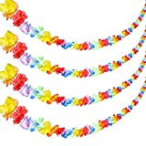 Jovitec 4 Pieces 20 Feet Multicolor Tropical Flower Lei Garland Flower Leaves Banner for Hawaiian Luau Decorations
