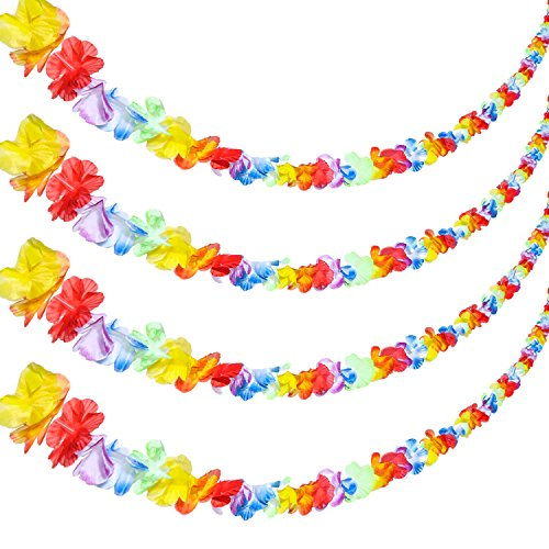 Fresh Garland (Jovitec 4 Pieces 20 Feet Multicolor Tropical Flower Lei Garland Flower Leaves Banner for Hawaiian Luau Decorations)