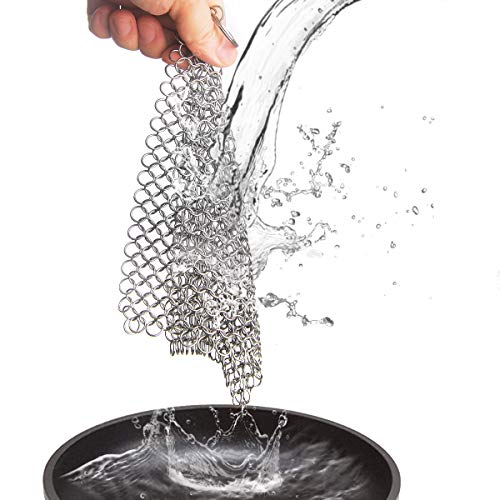 Cast Iron Cleaner, JOANBETE Stainless Steel Chainmail Scrubber 6 x 8 Inch Cookware Cleaner for Skillet, Pan, Pot, Wok, Griddle, Waffle Iron, Pans Scraper, Skillet Scraper, Frying Pan, Oven and More