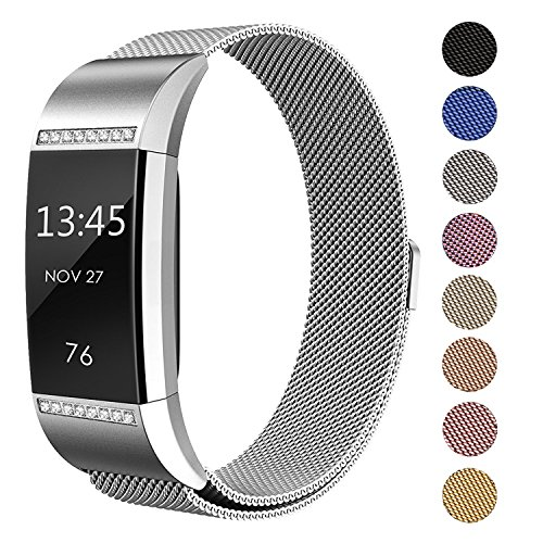 SWEES Fitbit Charge 2 Milanese Bands Metal Silver, Replacement Small & Large (5.5'' - 9.9'') Stainless Steel Magnetic Wristband Bracelet Watch Band for Fitbit Charge 2, Silver by SWEES