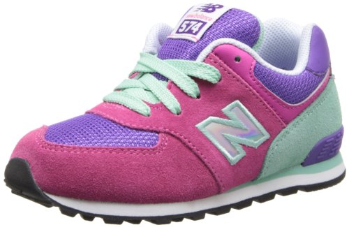 New Balance KL574 Lace-Up Running Shoe (Infant/Toddler),Pink/Purple,2 W US Infant