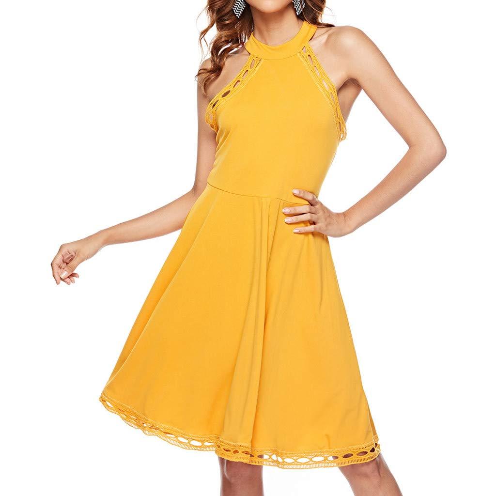 VEMOW Vestido Mujer Verano Mini sin Mangas del Vestido ...