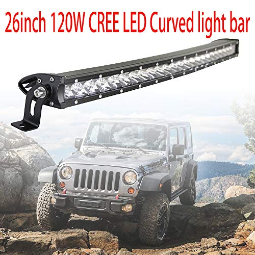 26inch CREE LED Curved Light Bar,120W Single Row, Spot Flood Combo, IP68 Waterproof LED Driving Fog Lamp, 12V 4WD Off Road Lighting, LED Work Lights for UTE ATV UTV SUV Boat Jeep Trucks (120w)