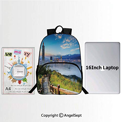 Custom KID SchoolBag Lightweight,Beautiful Scenery of a City Cosmopolitan Life and Nature with Bridge Print 15.7