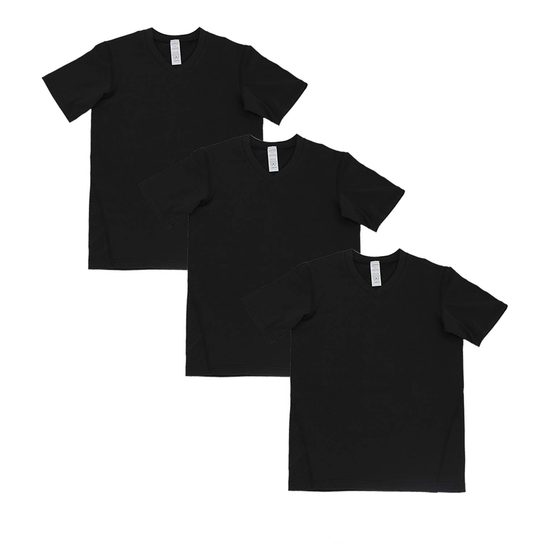 Minghe Girls Short Sleeve Undershirts Boys V-Neck Solid Undershirt T Shirt(Pack of 3) by Minghe