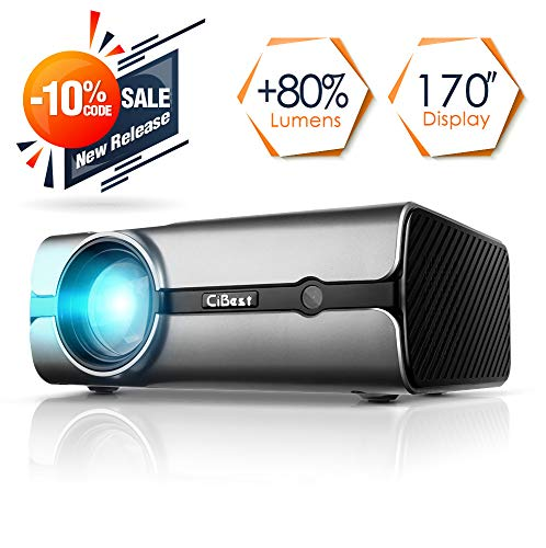 Video Projector, CiBest +80% Lumens 4Inch Mini Projector with 170'' Display - 30,000 Hour LED Video Projector Support 1080P, Compatible with HDMI, VGA, USB, AV, SD for Home Theater by CiBest