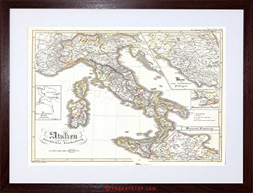MAP ANTIQUE PERTHES ITALY SARDINIA SICILY FRAMED PRINT F12X3476 (Italy Poster Map)
