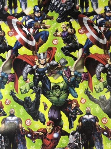 Marvels Green Theme Gift Wrap Avengers - Wrapping Paper 20 sq ft. 1 -