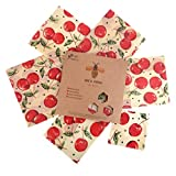 Bee's Trend Set of 6 Beeswax Wraps | All Natural Food Storage | Zero Waste Cheese and Sandwich Wrappers | Washable Bowl Covers
