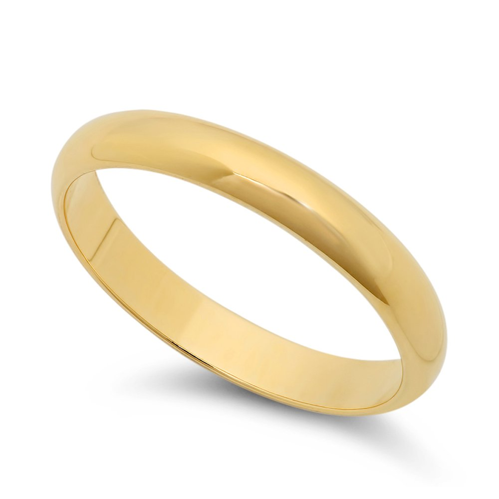 The Bling Factory 14k Yellow Gold Heavy Plated 3mm Smooth Domed Wedding Band Ring + Microfiber Jewelry Polishing Cloth GL-WB6