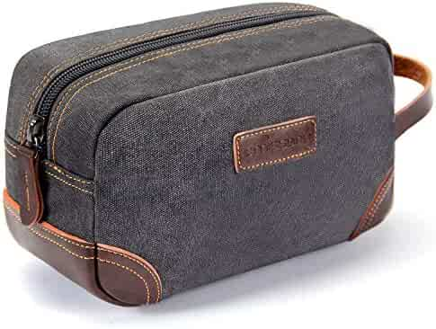 emissary Toiletry Bag for Men and Women | Leather and Canvas Travel Toiletry Bag | Luxury Dopp Kit ahd Shaving Bag for Travel Accessories (Gray)