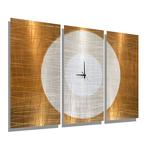 Pecan Wall Bracket - Large Gold Abstract Metal Wall Clock - Handcrafted Functional Art - Etched Modern Metal Wall Clock - Warm Embrace By Jon Allen - 38-inch