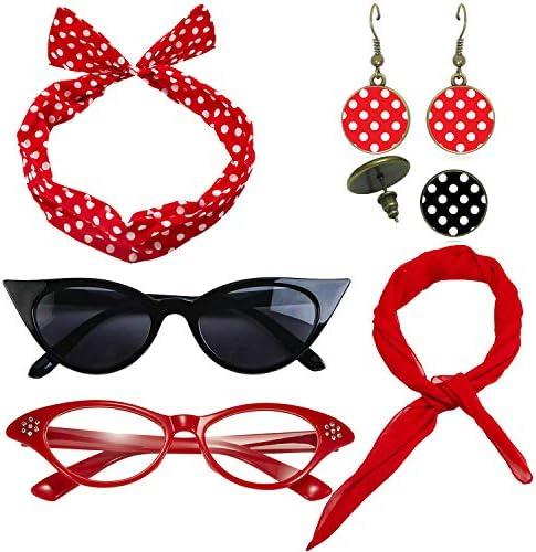 1950's Womens Costume Accessories - 50s Chiffon Scarf,Cat Eye Glasses,Bandana Tie Headband,Drop Dot Earrings
