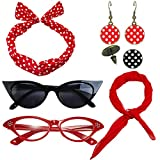 1950's Womens Costume Accessories Set - 50s Chiffon Scarf,Cat Eye Glasses,Bandana Tie Headband,Drop Dot Earrings (Red)