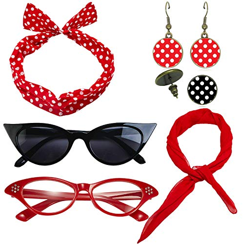 1950's Womens Costume Accessories Set - 50s Chiffon Scarf,Cat Eye Glasses,Bandana Tie Headband,Drop Dot Earrings (Red) (50 Retro Clothes)