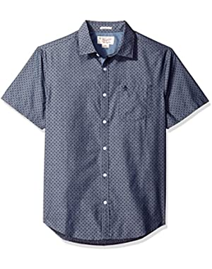 Men's Short Sleeve Polka Dot Printed Chambray Woven