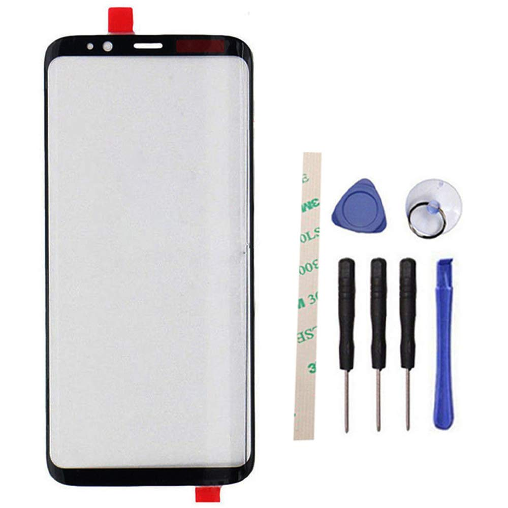 100% Glass Outer Screen Front Glass Lens Replacement for Galaxy S8 5.8 inch /S8 edge G950F G950FD G950W G9500 G950A G950P G950T G950U G950V (Not LCD and Not digitizer) with Adhesive Preinstalled