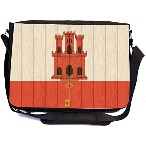 Rikki Knight Gibraltar Flag on Distressed Wood Design Multifunctional Messenger Bag - School Bag - Laptop Bag - with padded insert for School or Work - Includes UKBK Premium coin Purse