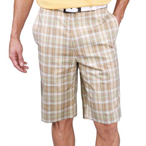 Monterey Bay Mens Plaid Madras Shorts #1847 (Dark Taupe/L...