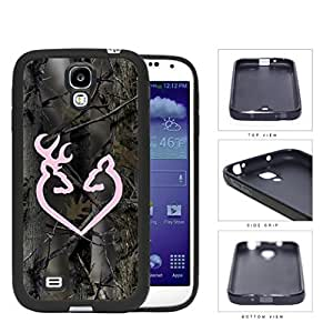 Pink Buck Heart Woods Camo Rubber Silicone TPU Cell Phone Case Samsung Galaxy S4 SIV I9500