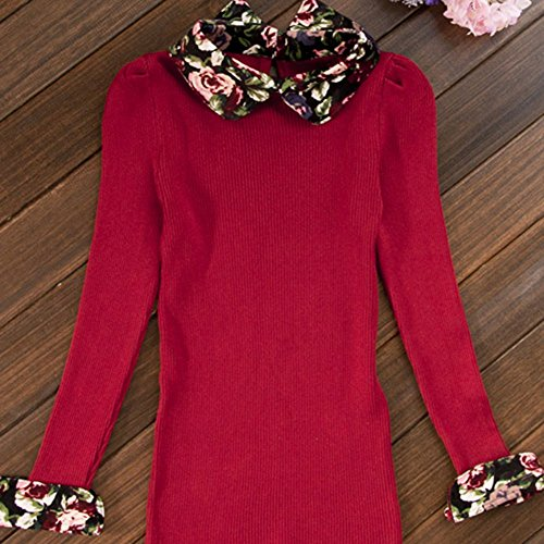 Spritech(TM) Fashion Women Thicken Basic Warm Rose Flower Pattern Vintage Doll Collar (Pattern Cotton Puff)