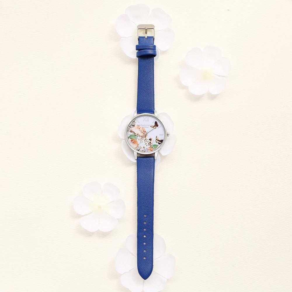 Montres Dames en Cuir de Robe Montres Montre-Bracelet Mode Fleur Papillon Dames Bracelet Dames Montre Ronde Montre à Quartz Blue1