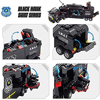 FUN LITTLE TOYS 700 PCs Police Truck Building Blocks Set in 25 Different Models, 8-in-1 Creative Police Car Toys for Kids Birthday Gifts: Toys & Games