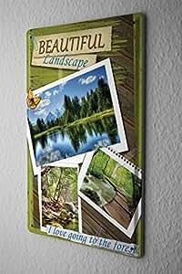 Cartel de chapa Placa metal tin sign Gira Mundial hermoso bosque paisajes Letrero De Metal 20X30 cm