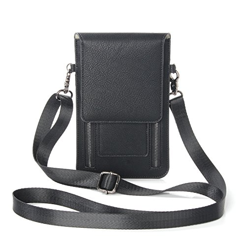 eBuymore Women Girl's Leather Crossbody Bag Wallet Purse Cellphone Pouch w/ Shoulder Strap for LG G5 / LG V20 / G Stylo 2 / Motorola Moto G4 / HTC 10 / HUAWEI Mate 9 / P9 Plus (Black)