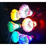 FOME Brand New LED Badminton Shuttlecock Dark Night Glow Birdies Lighting For Indoor Sports Activities 5PCS Color+ FOME Gift