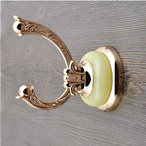Chinese Wind Ceramics Applique Coat and Cap Hook Wall Hanging Wall Single Hook Single Hanger, Shuanglong Opera Pearl Crystal Greenstone