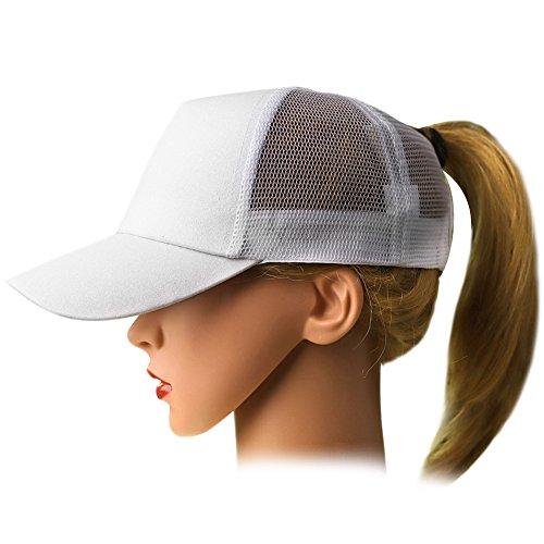 Sparkle Cap - Ztl Glitter Baseball Cap High Messy Bun Ponytail Adjustable Mesh Visor Cap Hat