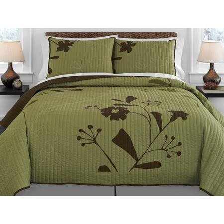 Why Choose Keeco Better Homes and Gardens Olive Thistle Quilt, Queen, Olive
